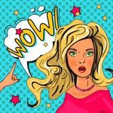 Ejemplo del arte pop de la muchacha con la burbuja del discurso ilustración del vector