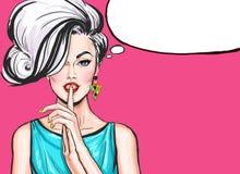 Ejemplo del arte pop de la muchacha con la burbuja del discurso Fotografía de archivo