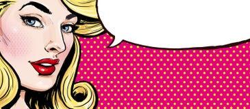 Ejemplo del arte pop de la muchacha con la burbuja del discurso Muchacha del arte pop Imágenes de archivo libres de regalías
