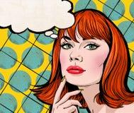 Ejemplo del arte pop de la muchacha con la burbuja del discurso Muchacha del arte pop Invitación del partido Tarjeta de felicitac Imagen de archivo libre de regalías