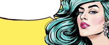 Ejemplo del arte pop de la muchacha con la burbuja del discurso Muchacha del arte pop Muchacha atractiva Top model Fotografía de archivo libre de regalías