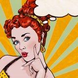 Ejemplo del arte pop de la mujer con la burbuja del discurso Muchacha del arte pop Tarjeta de felicitación del cumpleaños Foto de archivo libre de regalías