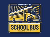 Ejemplo del autobús escolar en el fondo ligero, emblema Imagenes de archivo