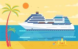 Ejemplo del barco de cruceros, vista lateral, cerca de la playa, palmeras stock de ilustración