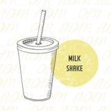 Ejemplo del batido de leche dibujado mano en la taza de papel con el palillo Fotografía de archivo