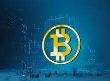 Ejemplo del bitcoin 3D de la ciudad del negocio de la letra de oro B del símbolo del bitcoin en el anillo en el fondo del program Fotos de archivo
