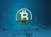 Ejemplo del bitcoin 3D de la ciudad del negocio de la letra de oro B del símbolo del bitcoin en el anillo en el fondo del program Imágenes de archivo libres de regalías