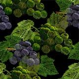 Ejemplo del bordado inconsútil del modelo, costura con un manojo, racimo de uvas con una hoja verde Collar de ilustración del vector