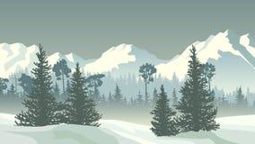 Ejemplo del bosque conífero del invierno con las montañas stock de ilustración