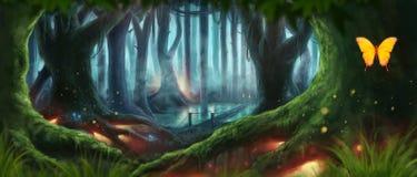 Ejemplo del bosque de la fantasía Imágenes de archivo libres de regalías