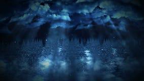 Ejemplo del bosque del invierno, escena de la noche, fondo abstracto de la naturaleza, animación del paisaje del lazo, ilustración del vector