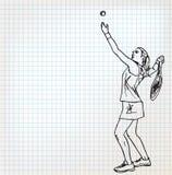 Ejemplo del bosquejo de los jugadores de tenis Fotos de archivo