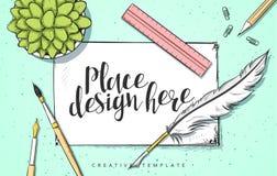 Ejemplo del bosquejo del concepto de diseño de la plantilla para comercializar Banderas del web de los conceptos Fotografía de archivo libre de regalías
