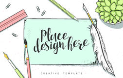 Ejemplo del bosquejo del concepto de diseño de la plantilla para comercializar Banderas del web de los conceptos Fotos de archivo