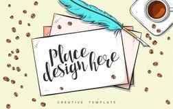 Ejemplo del bosquejo del concepto de diseño de la plantilla para comercializar Maqueta del concepto Imagenes de archivo
