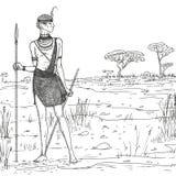 Ejemplo del bosquejo del vector Guerrero armado de la tribu del Masai en ropa y joyería tradicionales contra la perspectiva del s ilustración del vector
