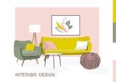 Ejemplo del bosquejo del diseño interior del vector Muebles de la sala de estar mediados de siglo modernos Foto de archivo libre de regalías