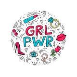 Ejemplo del círculo con las palabras GRL PWR stock de ilustración