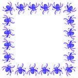 Ejemplo del círculo de la acuarela de la araña púrpura azul a Halloween Marco o composición cuadrado de objetos imágenes de archivo libres de regalías