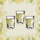 Ejemplo del cóctel del auge del Tequila Vector exhausto de la barra de la mano clásica alcohólica de la bebida Arte pop ilustración del vector