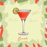 Ejemplo del cóctel de Bacardi Vector exhausto de la barra de la mano clásica alcohólica de la bebida Arte pop libre illustration