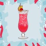 Ejemplo del cóctel de la honda de Singapur Vector exhausto de la barra de la mano clásica alcohólica de la bebida Arte pop ilustración del vector