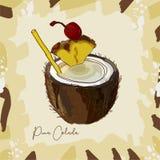 Ejemplo del cóctel de Pina Colada Vector exhausto de la barra de la mano alcohólica de la bebida Arte pop stock de ilustración