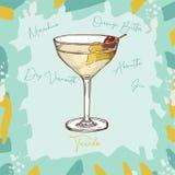 Ejemplo del cóctel del smoking Vector exhausto de la barra de la mano clásica alcohólica de la bebida Arte pop libre illustration