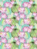 Ejemplo del cactus de la acuarela, modelo inconsútil Foto de archivo