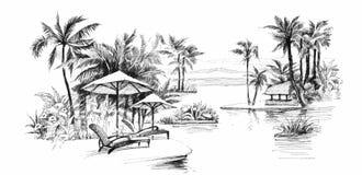 Ejemplo del callejón de la palma de la pintura stock de ilustración