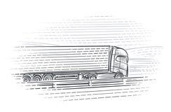 Ejemplo del camión que mueve encendido la carretera Vector Imagen de archivo