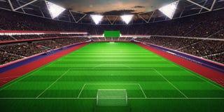 Ejemplo del campo de fútbol 3D de la arena del estadio de la tarde Fotografía de archivo