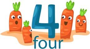Carácter del número 4 con las zanahorias Fotografía de archivo