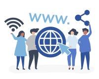 Ejemplo del carácter de la gente que lleva a cabo iconos del World Wide Web ilustración del vector