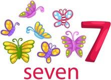 Carácter del número 7 con las mariposas Imagen de archivo libre de regalías