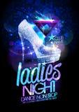 Ejemplo del cartel de la noche de las señoras con los zapatos de tacón alto de los cristales del diamante Fotos de archivo libres de regalías