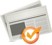 ejemplo del ciclo de la marca de verificación del periódico imágenes de archivo libres de regalías