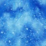 Ejemplo del cielo de la acuarela con las estrellas Modelo inconsútil del espacio Foto de archivo libre de regalías