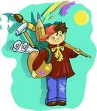 Ejemplo del clip art del vector del muchacho del artista de la historieta con el cepillo Imágenes de archivo libres de regalías