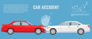 Ejemplo del concepto del accidente de tráfico Vector del color plano y sólido Fotos de archivo libres de regalías