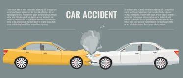 Ejemplo del concepto del accidente de tráfico Vector del color plano y sólido Imágenes de archivo libres de regalías