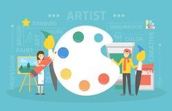 Ejemplo del concepto del artista stock de ilustración