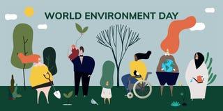 Ejemplo del concepto del día del ambiente mundial stock de ilustración