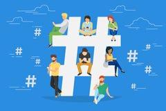 Ejemplo del concepto de Hashtag stock de ilustración