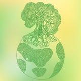 Ejemplo del concepto de la ecología del árbol de la tierra Ahorre el vecto de la tierra del planeta Fotografía de archivo