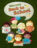 Ejemplo del concepto de la escuela con los niños lindos stock de ilustración
