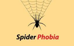 Ejemplo del concepto de la fobia de la araña con la bandera del web y del texto Imagen de archivo libre de regalías