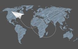 Ejemplo del concepto de la globalización y de la línea aérea Fotos de archivo libres de regalías