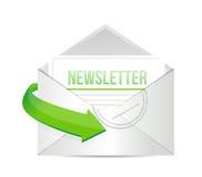 Ejemplo del concepto de la información del correo electrónico del hoja informativa Imagen de archivo