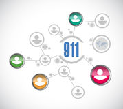 ejemplo del concepto de la muestra de la red de 911 personas Fotografía de archivo libre de regalías